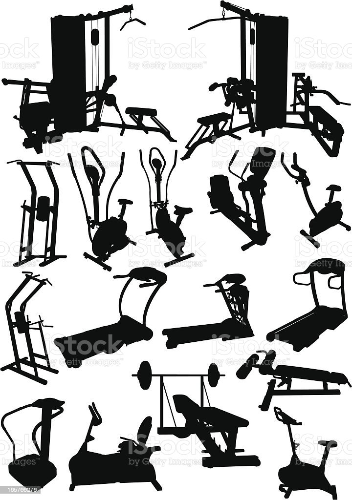 Gym Equipment vector art illustration