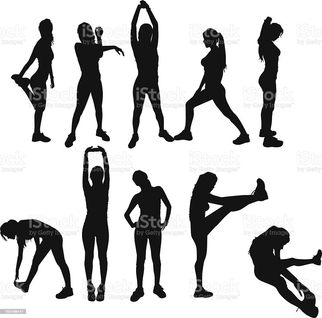 Gym Exercises silhouettes vector art illustration