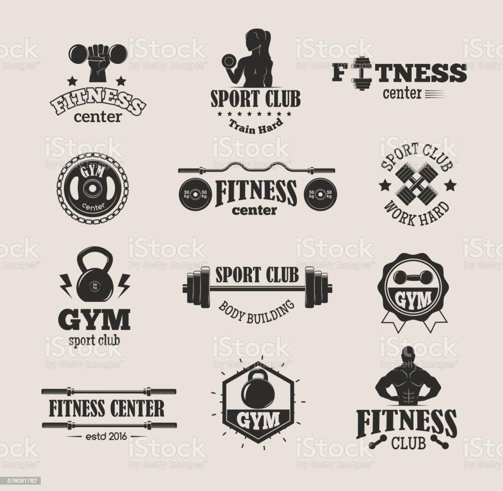 Gym fitness symbols vector set. vector art illustration