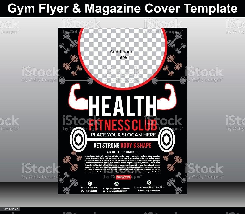 gym flyer & magazine cover template vector art illustration