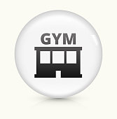 Gym icon on white round vector button