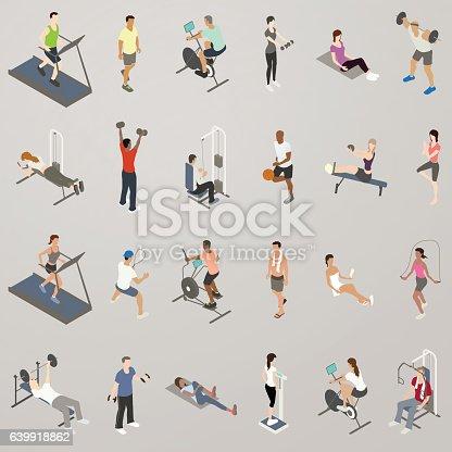Gym workout people illustration