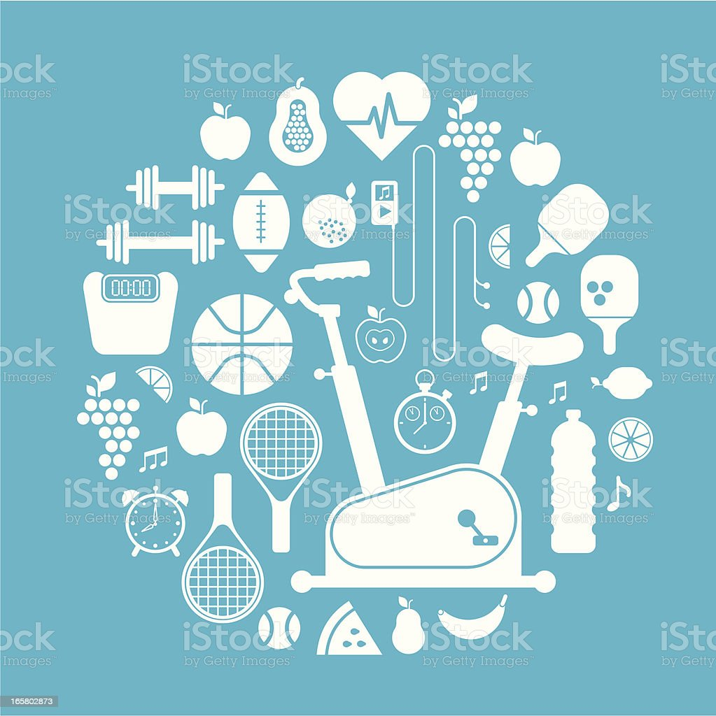 Gym silhuettes royalty-free stock vector art