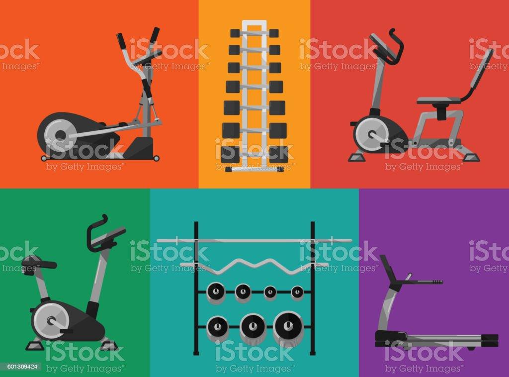 Gym sports equipment icons set. vector art illustration