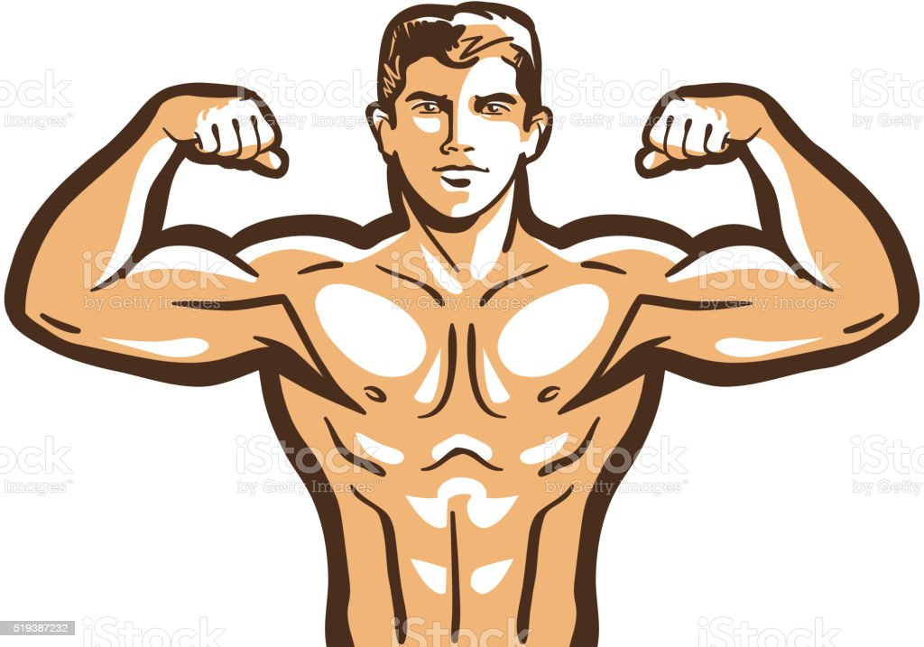 gym vector logo. bodybuilder, bodybuilding or sport icon vector art illustration