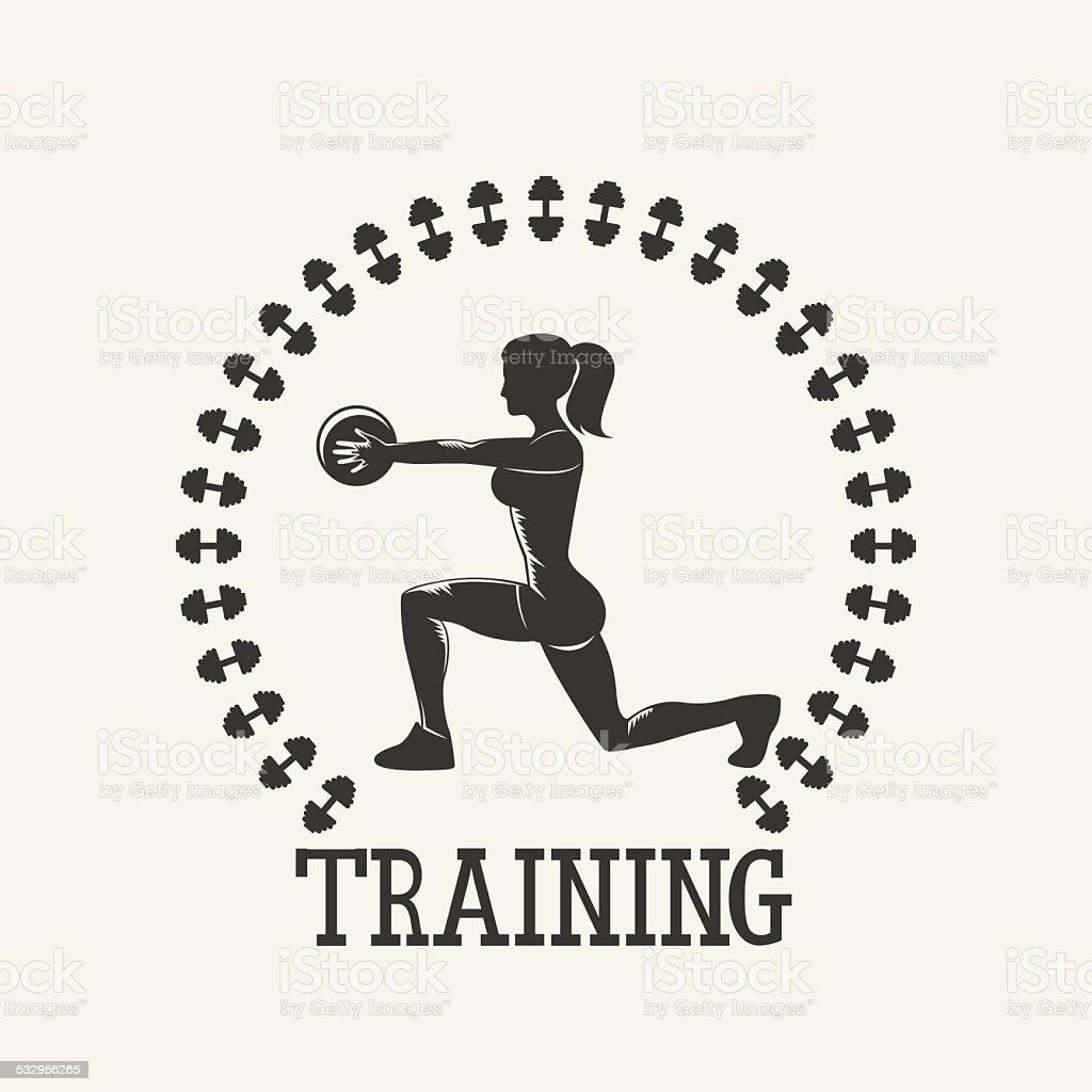 gym vintage stiker vector art illustration
