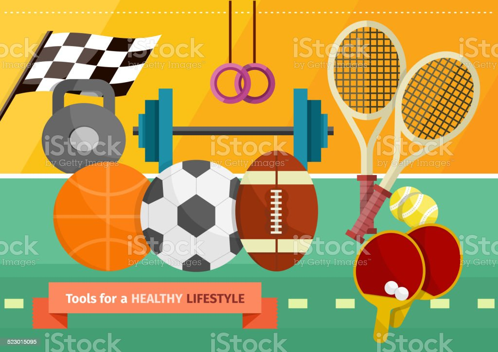 Gym with sport equipment concept vector art illustration