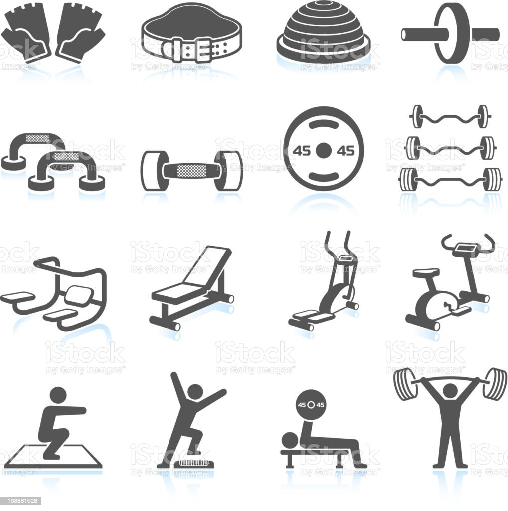 Gym workout and weight lifting black & white icon set vector art illustration