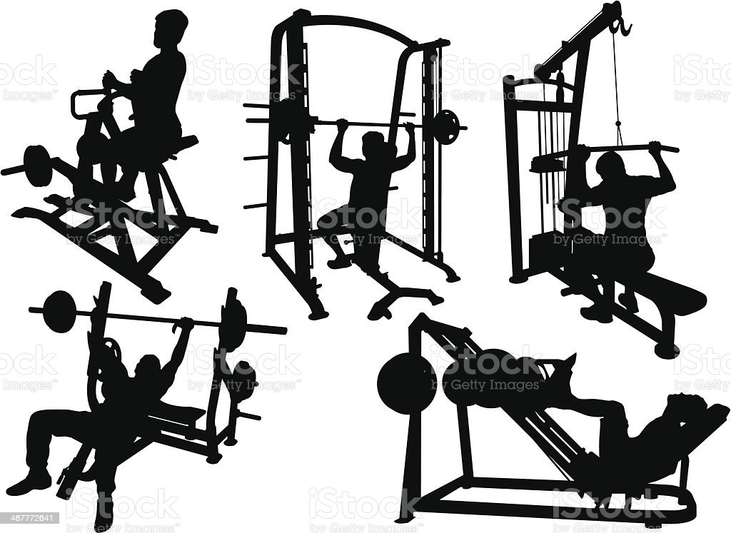 Gym Workout vector art illustration