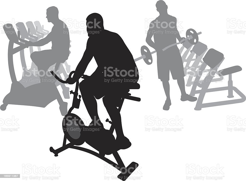 Gym Workout Vector Silhouette royalty-free stock vector art