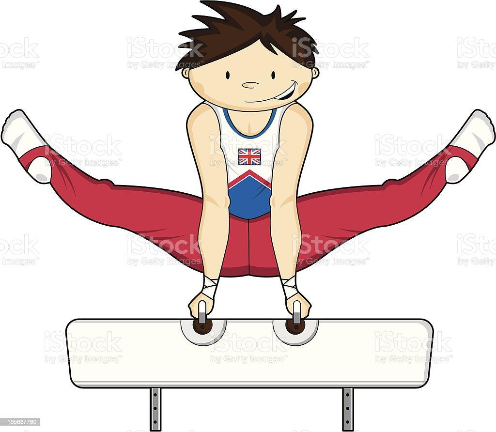 Gymnast on the Pommel Horse vector art illustration