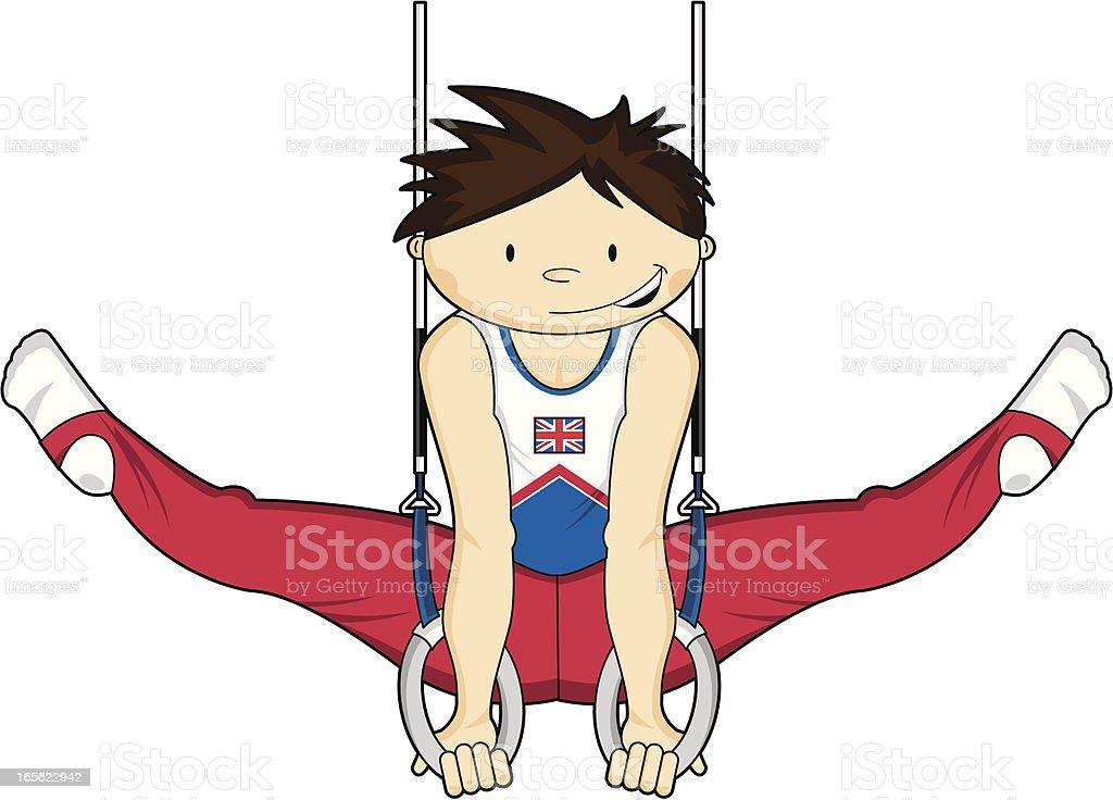 Gymnast on the Ring vector art illustration
