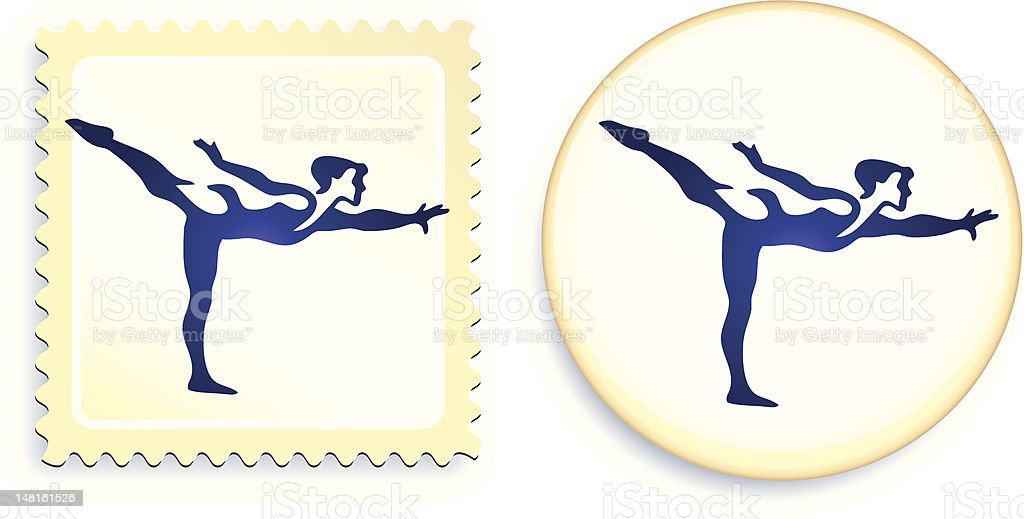 gymnast stamp and button vector art illustration