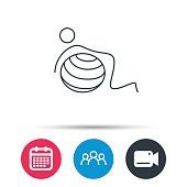 Gymnastic ball icon. Pilates fitness sign.