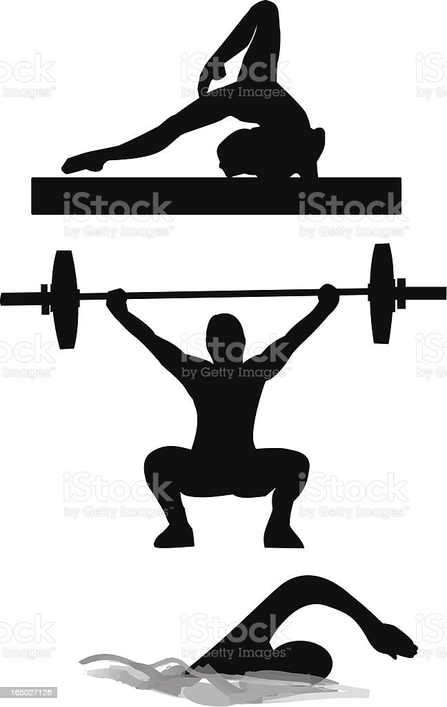 Gymnastic, weightlifting and swimming vector art illustration