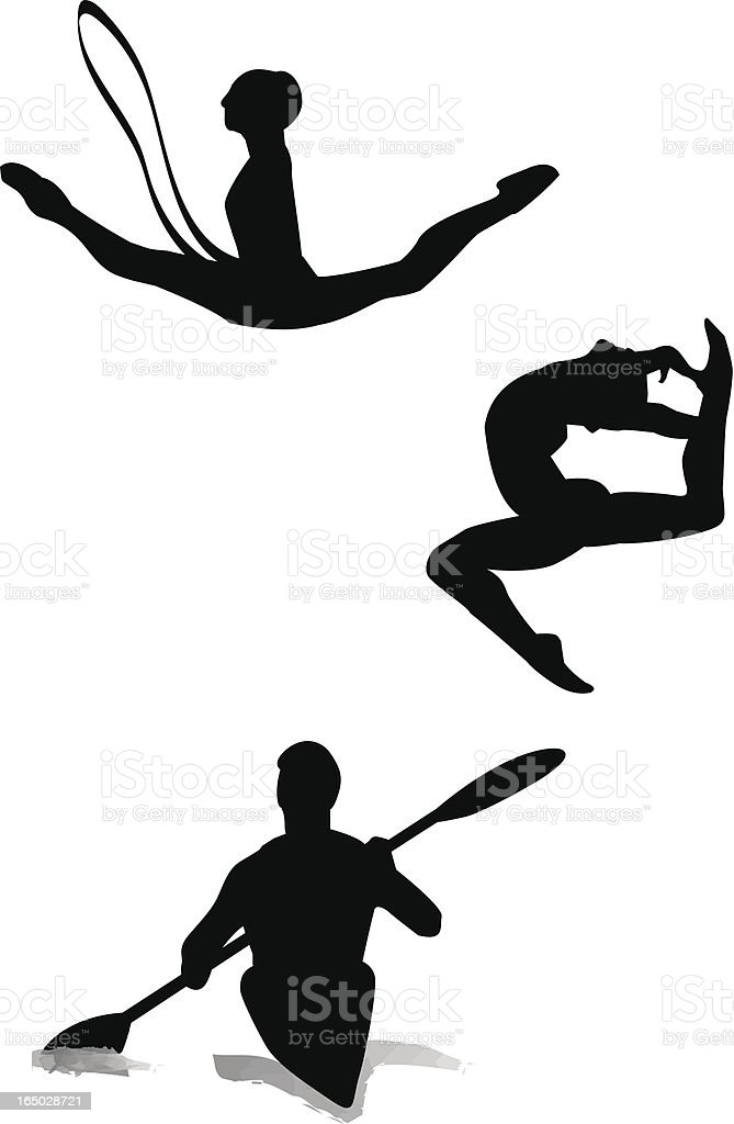 Gymnastics and canoe-kayak vector art illustration