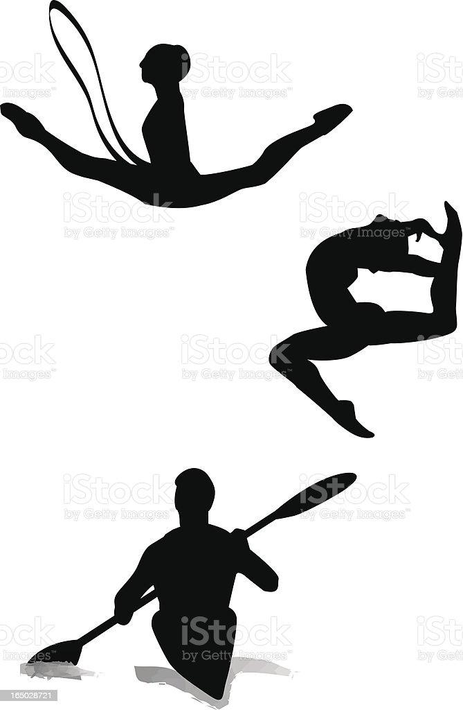 Gymnastics and canoe-kayak vector art illustration