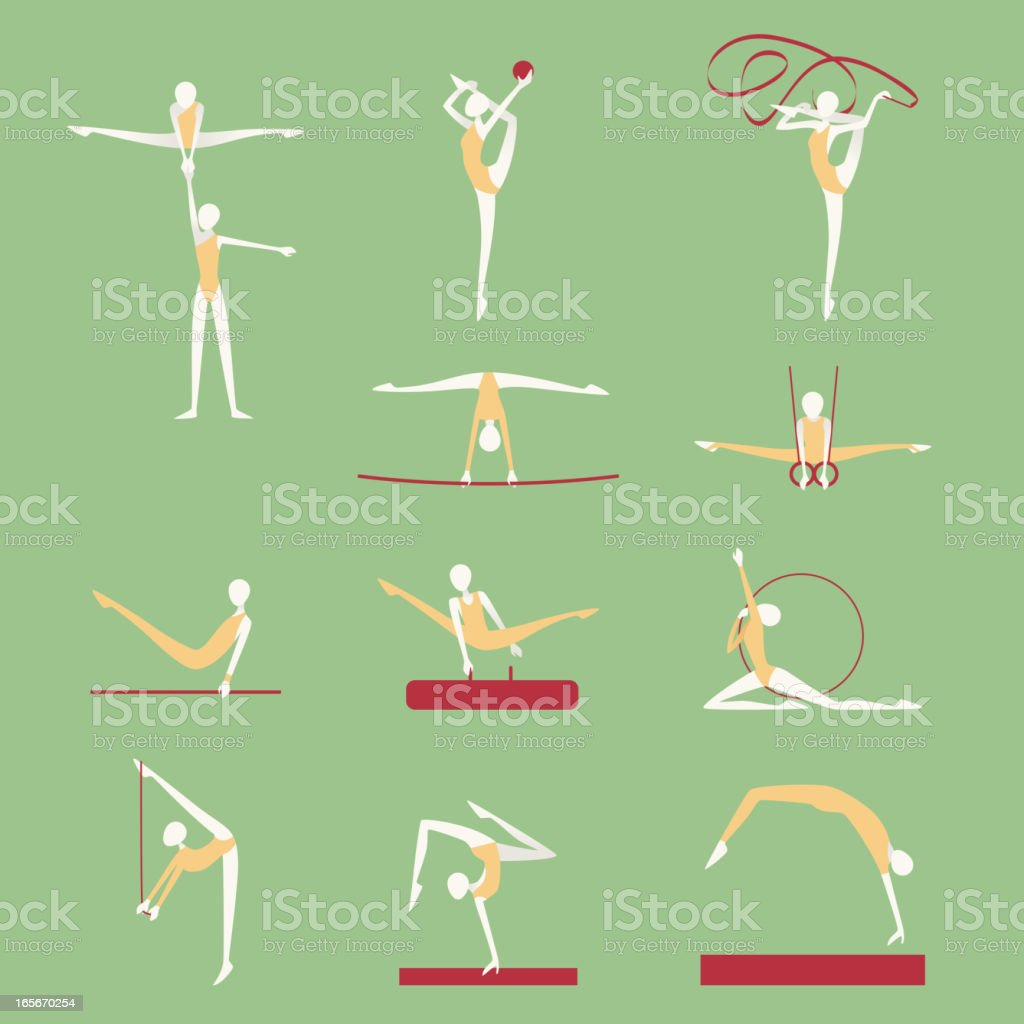 Gymnastics Athletics Poses Positions Icons vector art illustration