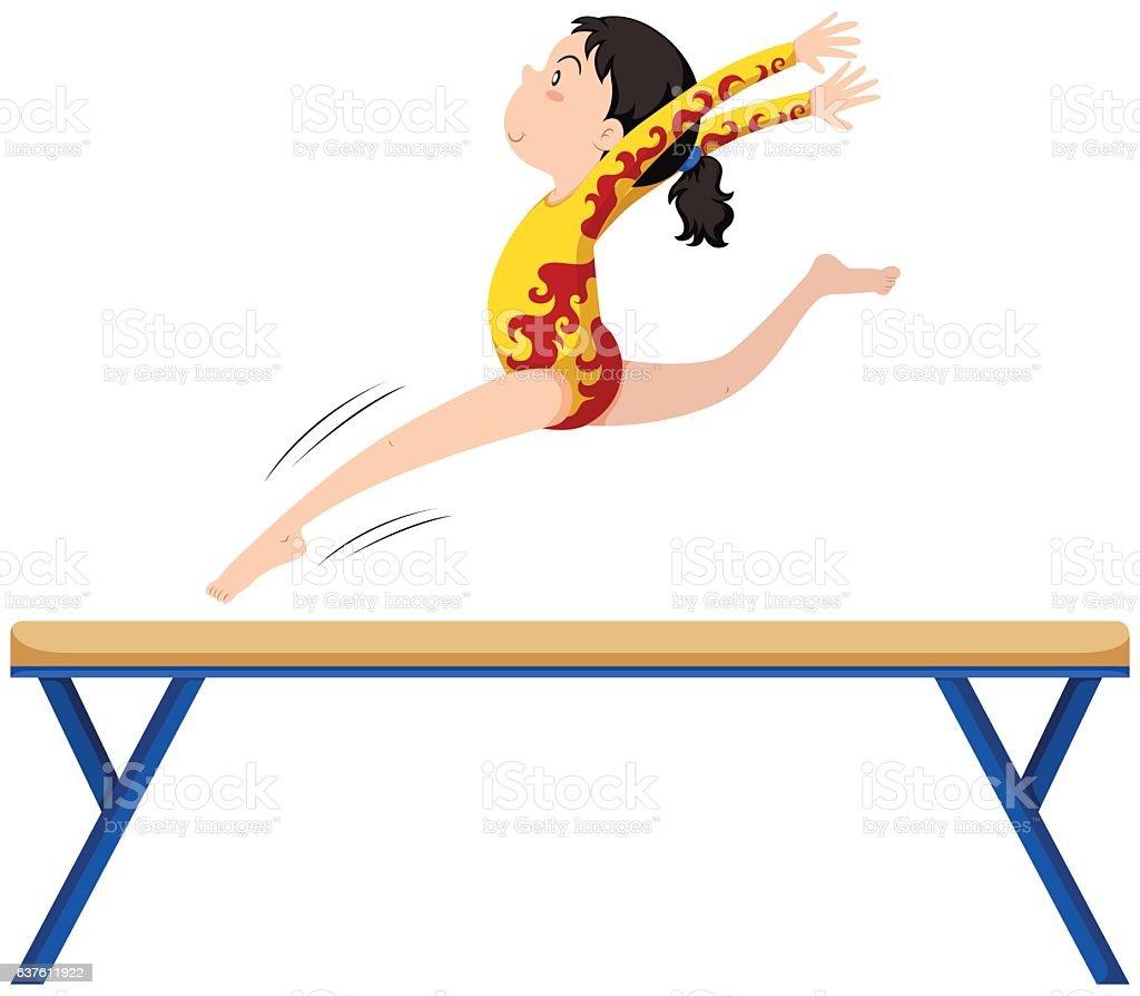 gymnastics on balance beam royaltyfree stock vector art