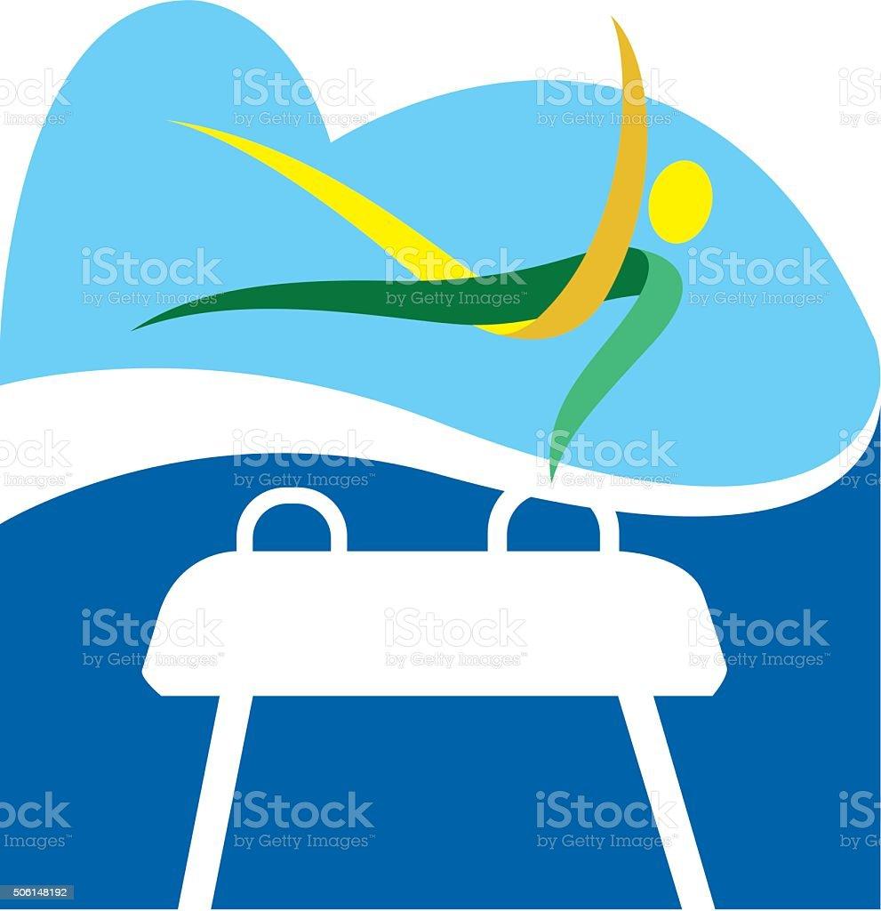 Gymnastics on the pommel horse, several modalities, games vector art illustration