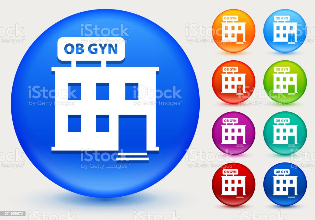 Gynecology Offices Icon on Shiny Color Circle Buttons vector art illustration
