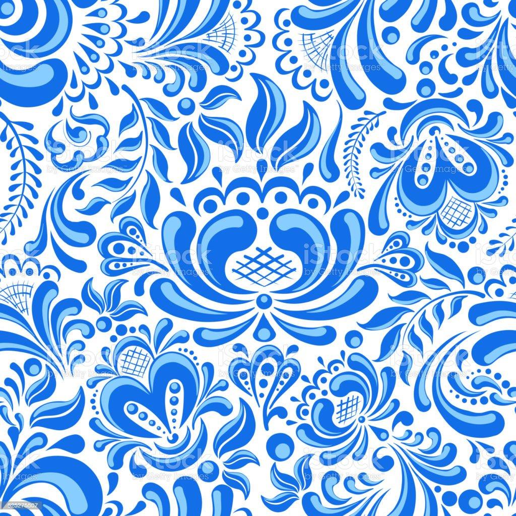 Gzhel seamless pattern vector art illustration
