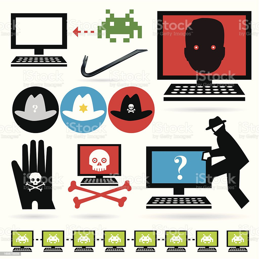 Hacked and Cloned Computers vector art illustration