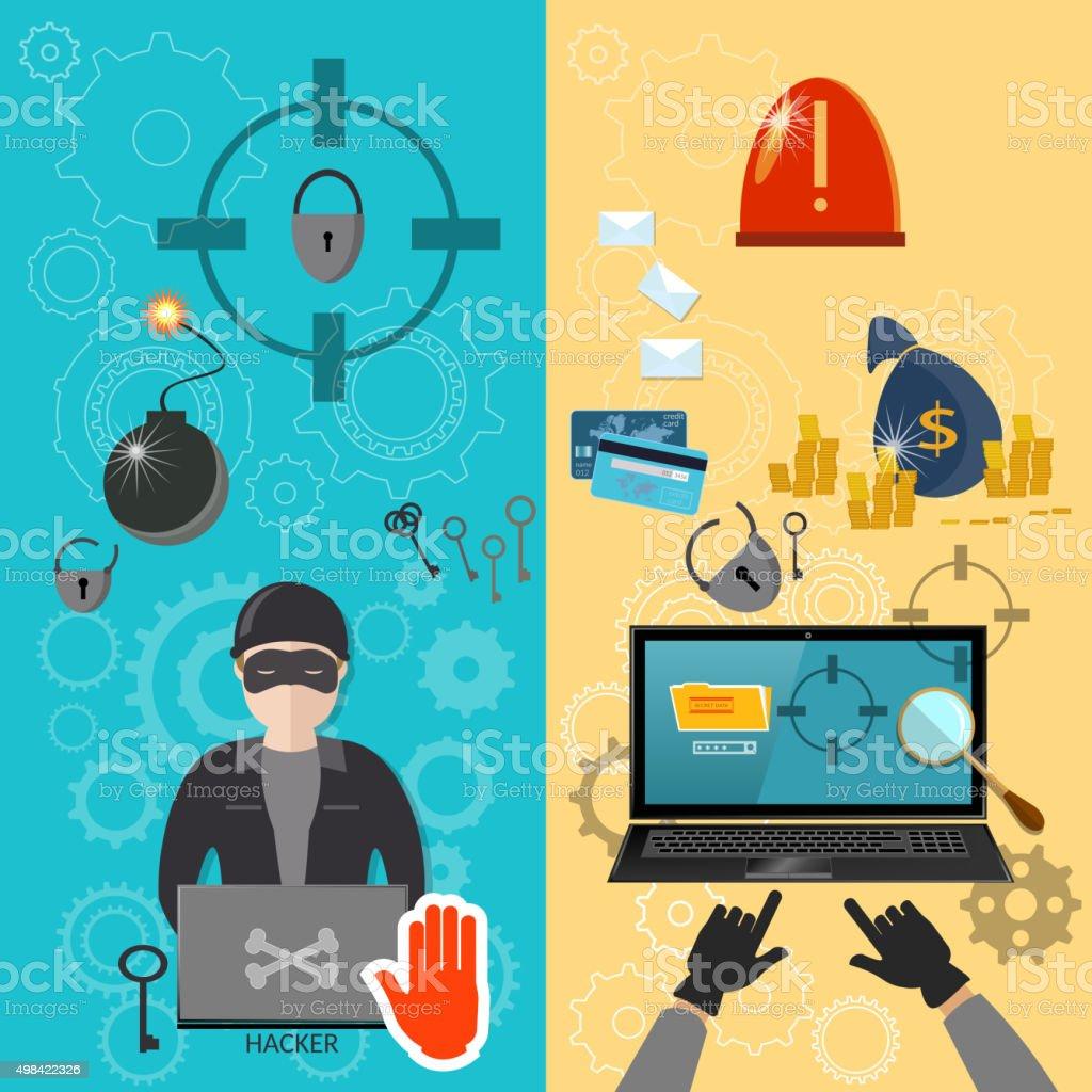 Hacker activity computer bank account hacking vector art illustration