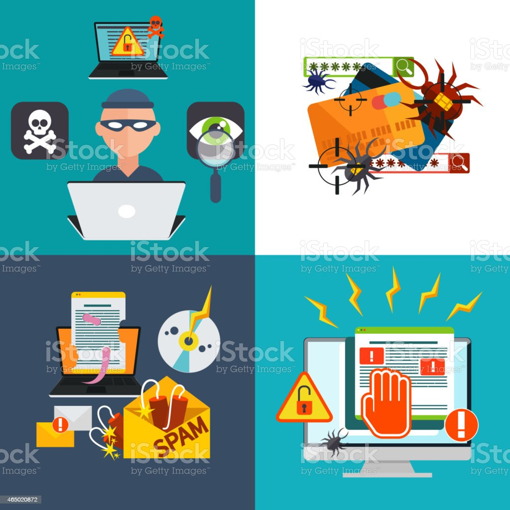 Hacker activity viruses hacking and e-mail spam vector art illustration