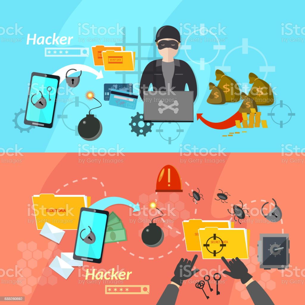 Hacker banners computer virus attacks mobile phone hacking vector art illustration
