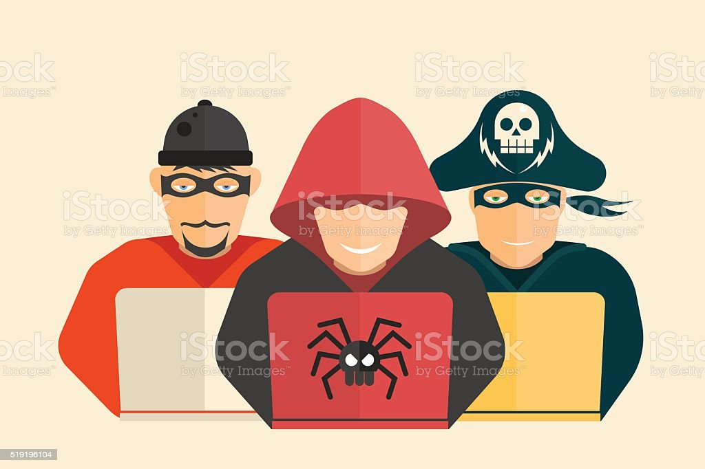 Hacker, computer pirate and scammer. vector art illustration