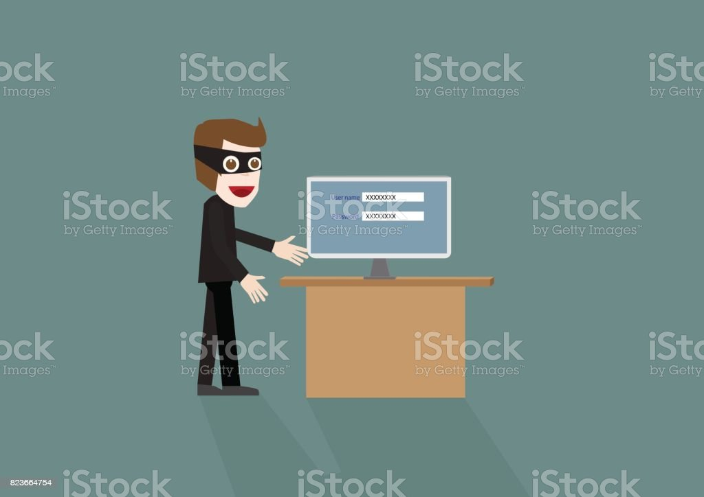 Hacker, concept hacking computer network bank or social media thief and robber vector art illustration