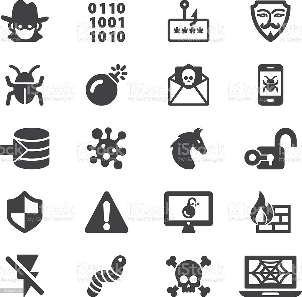 Hacker Cyber Crime Silhouette Icons | EPS10 vector art illustration