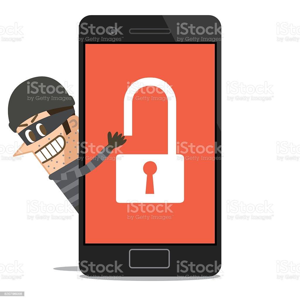 Hacker hacking smartphone vector art illustration