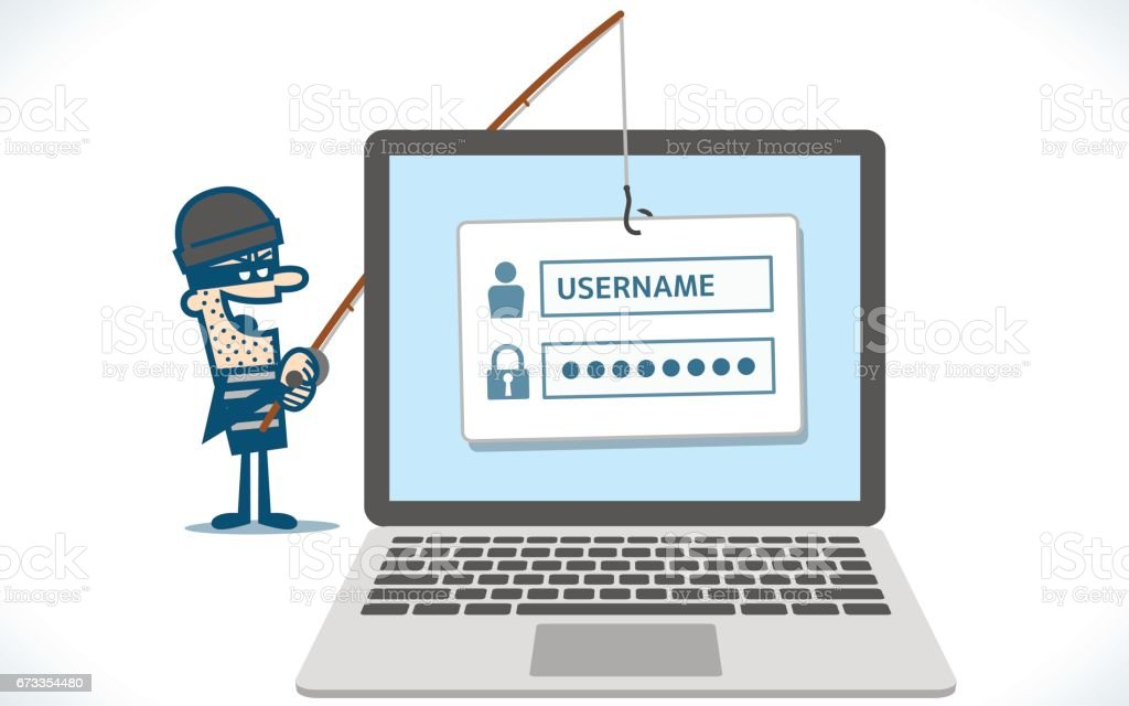 Hacker phishing computer infection vector art illustration