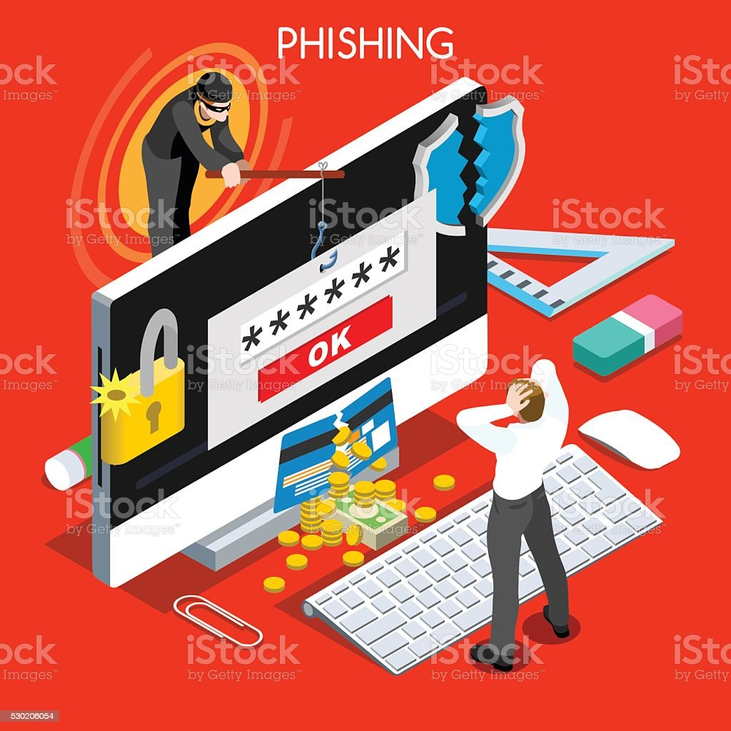 Hacker Phishing Infographic 3D Flat Isometric People Design Concept Spam vector art illustration