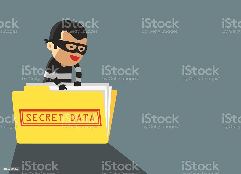 Hacker robbery secret data vector art illustration