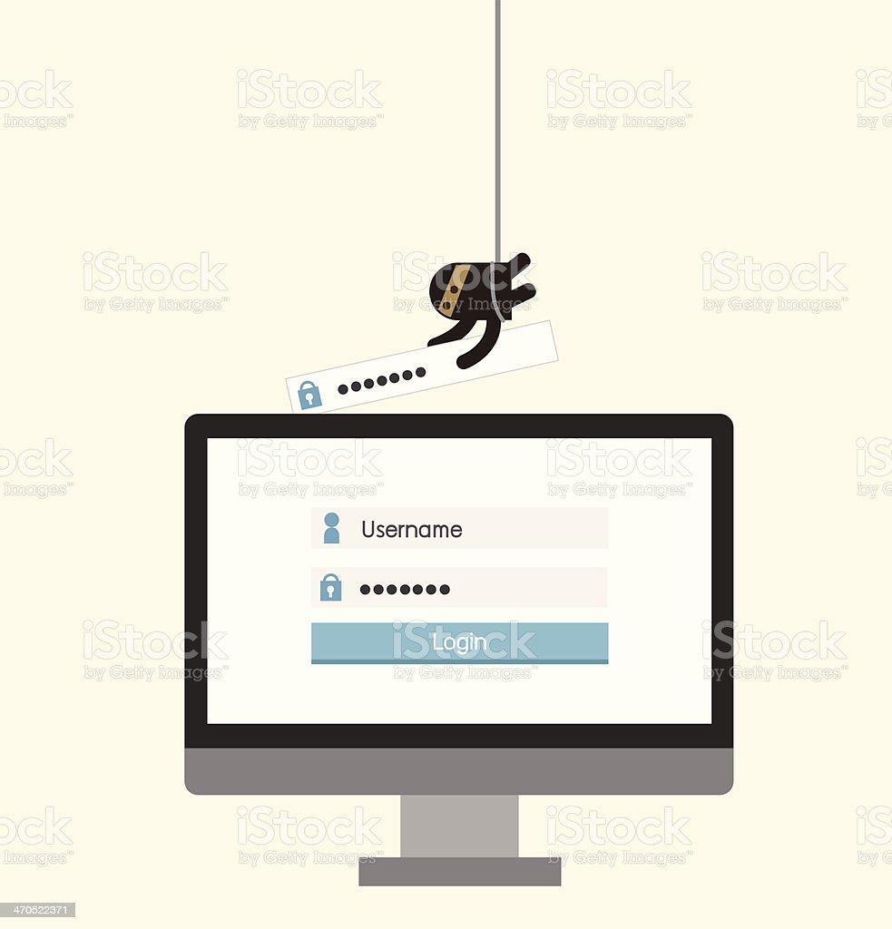Hacker, sercurity  concept, hacking bank or social media thief vector art illustration