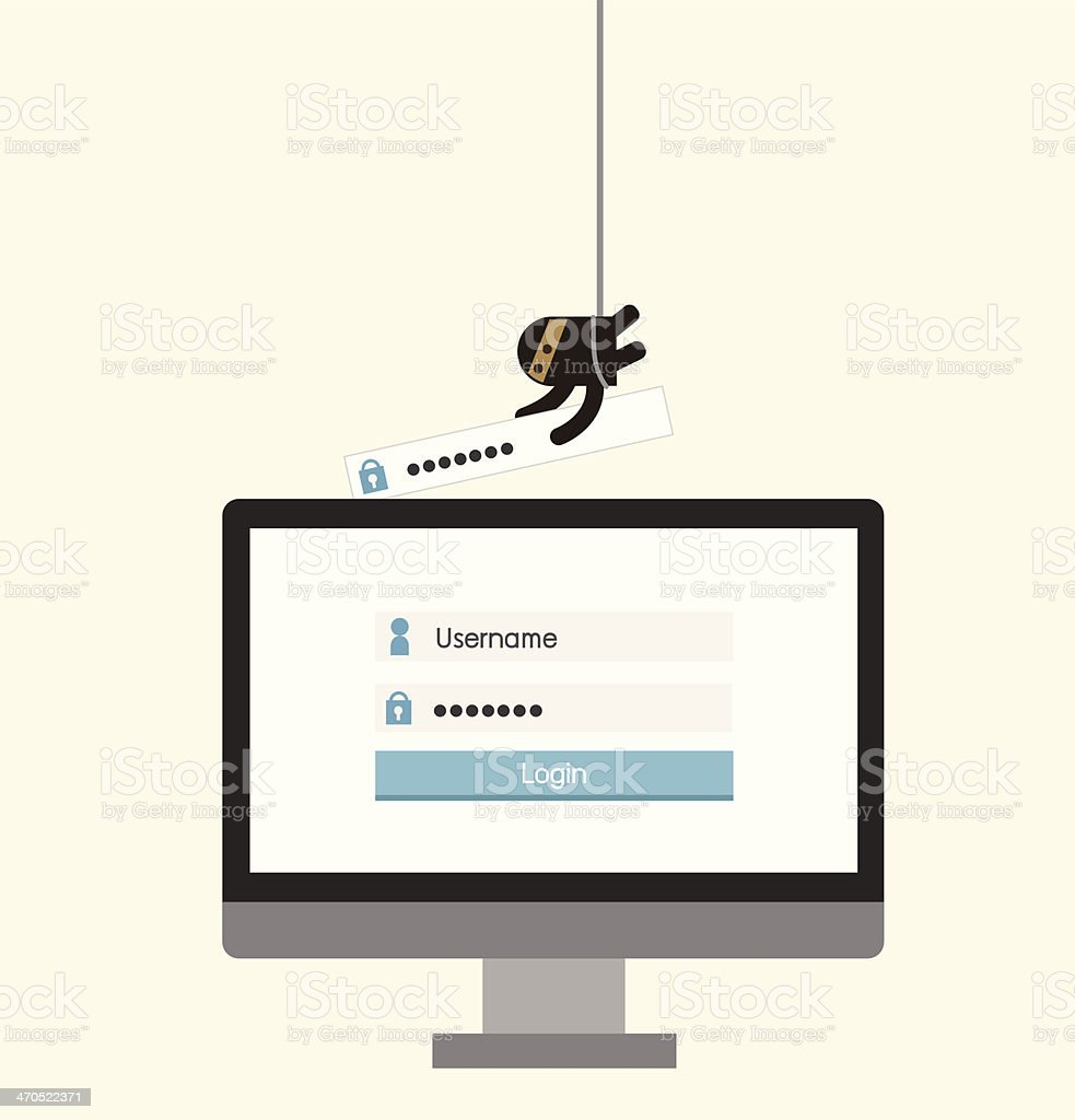 Hacker, sercurity  concept, hacking bank or social media thief vector art illustration