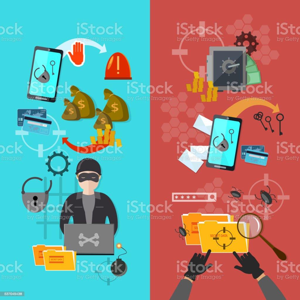 Hackers attaks activity banner mobile phone hacking vector art illustration