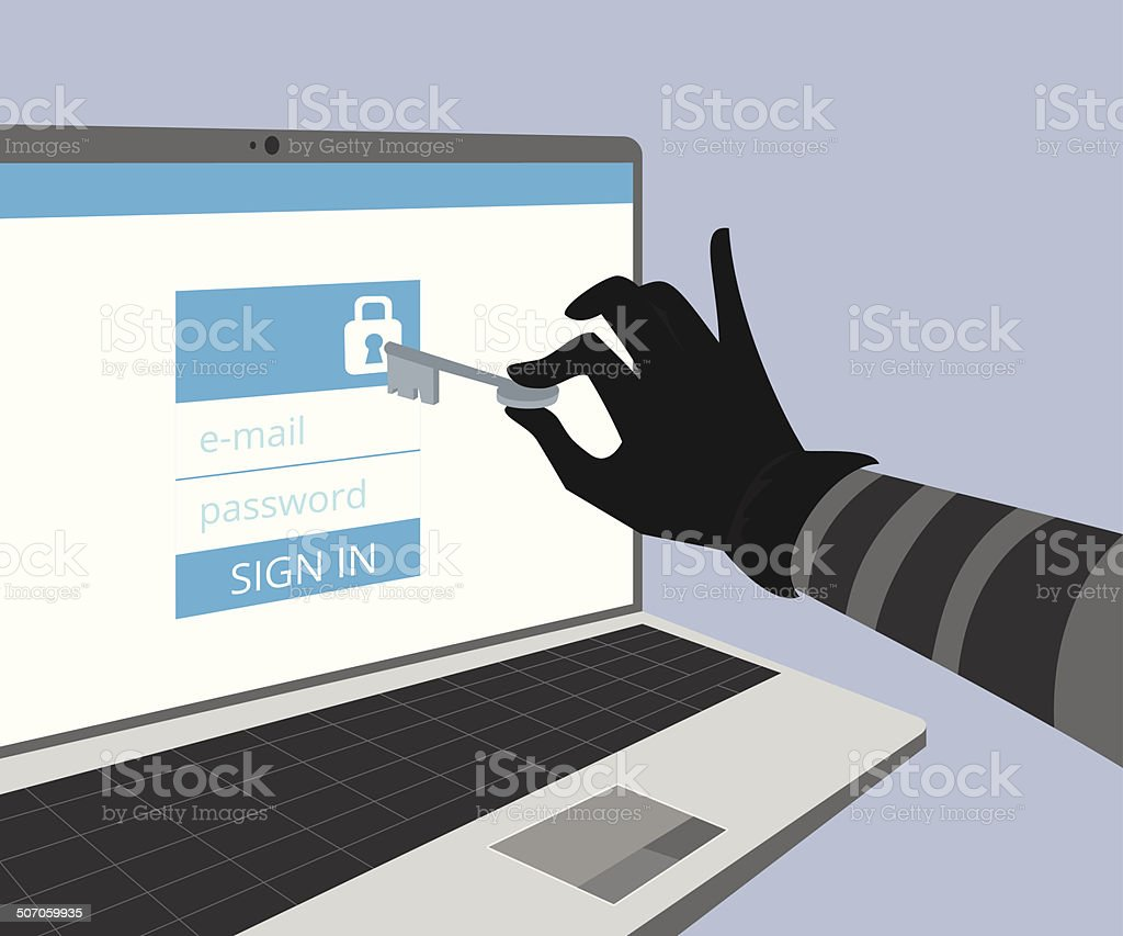 Hacking account of social networking. vector art illustration