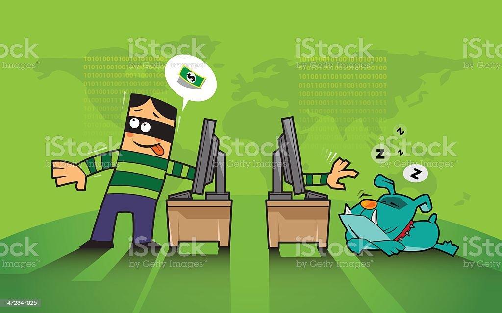 hacking, hacker, phishing protection royalty-free stock vector art