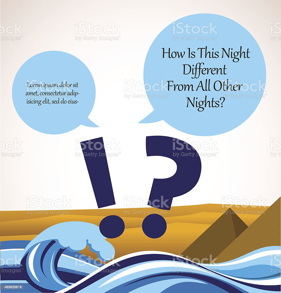 haggadah question song. passover card vector art illustration