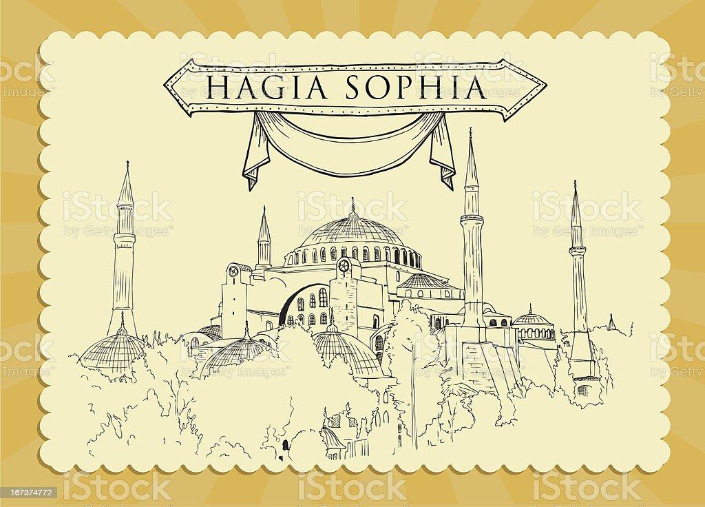 Hagia Sophia Cardpostal royalty-free stock vector art