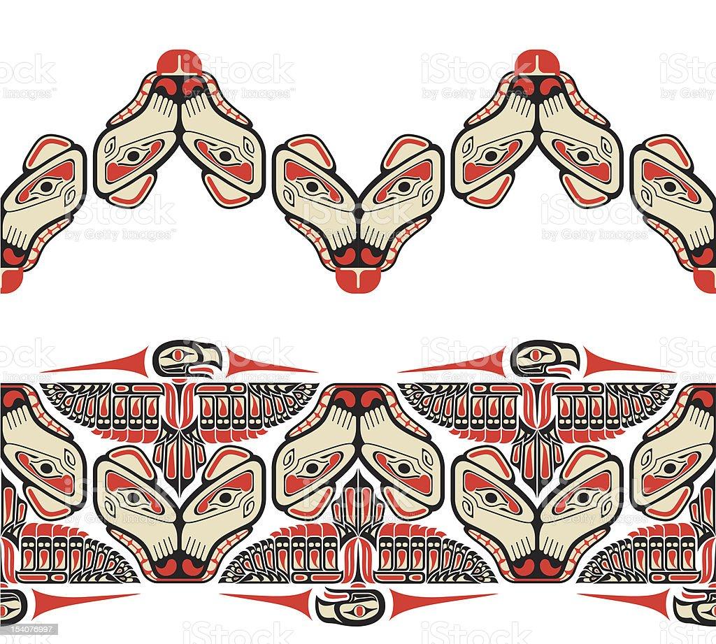 Haida style seamless pattern vector art illustration