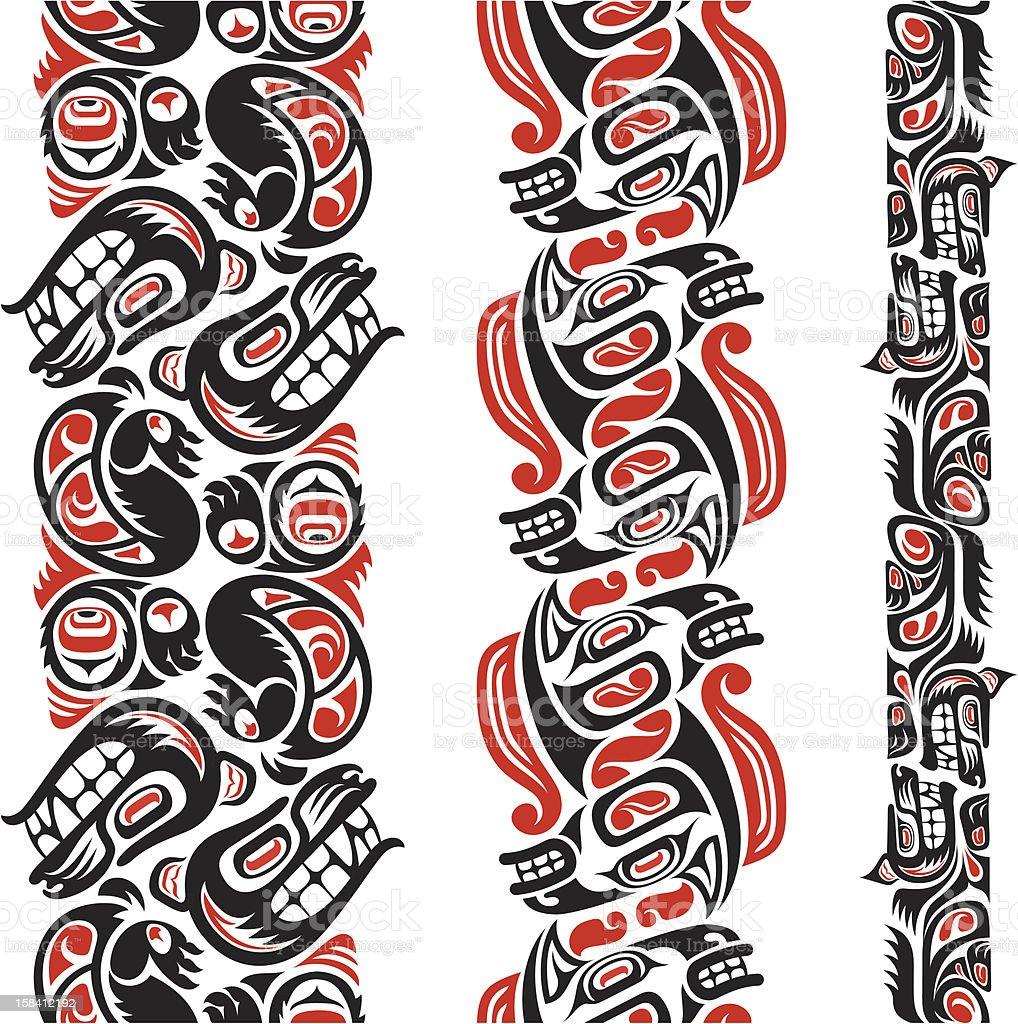 Haida style tattoo pattern vector art illustration