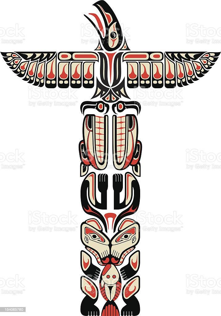 Haida style totem pattern vector art illustration