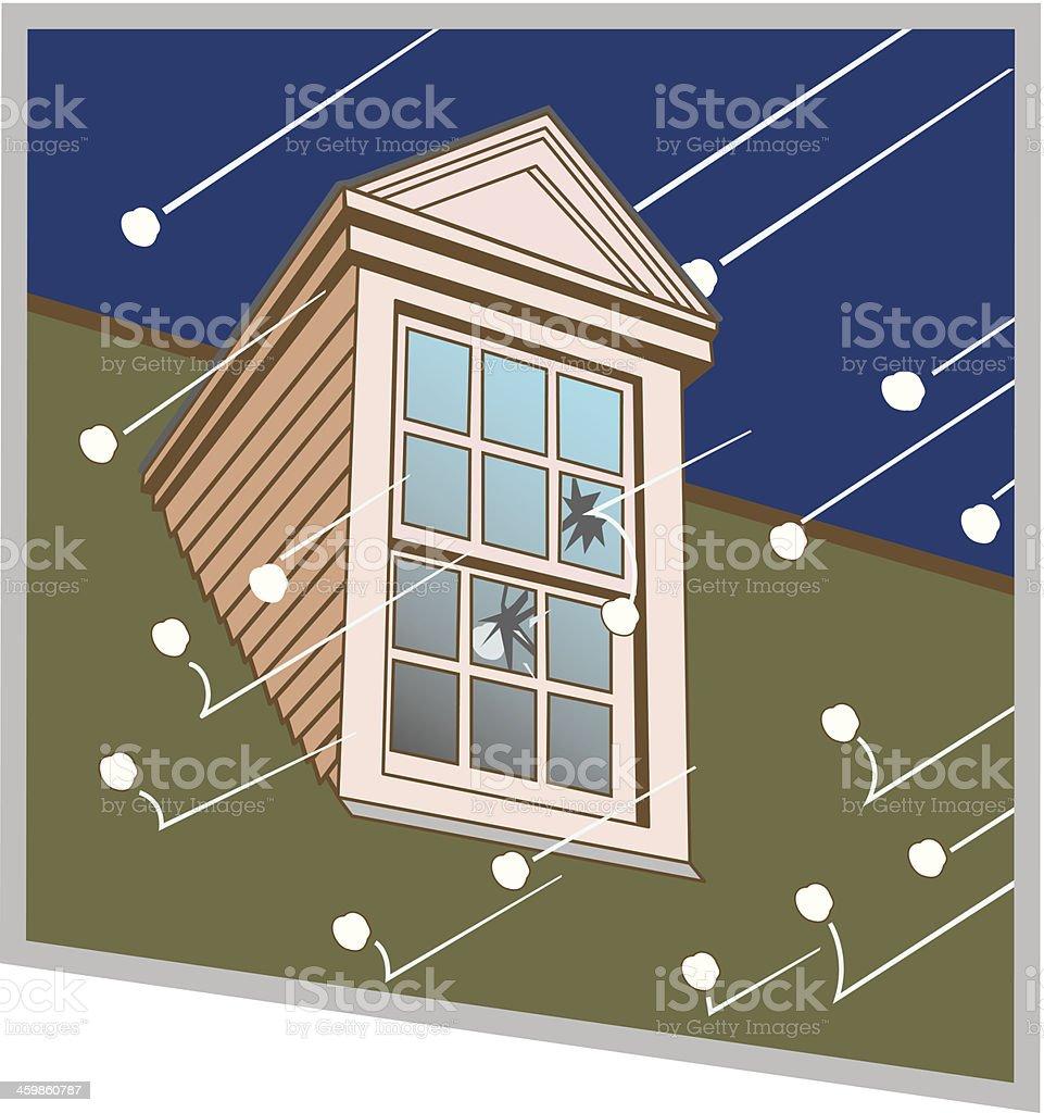 Hail Breaking Window C vector art illustration