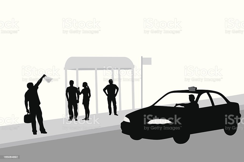 Hailing A Cab Vector Silhouette royalty-free stock vector art