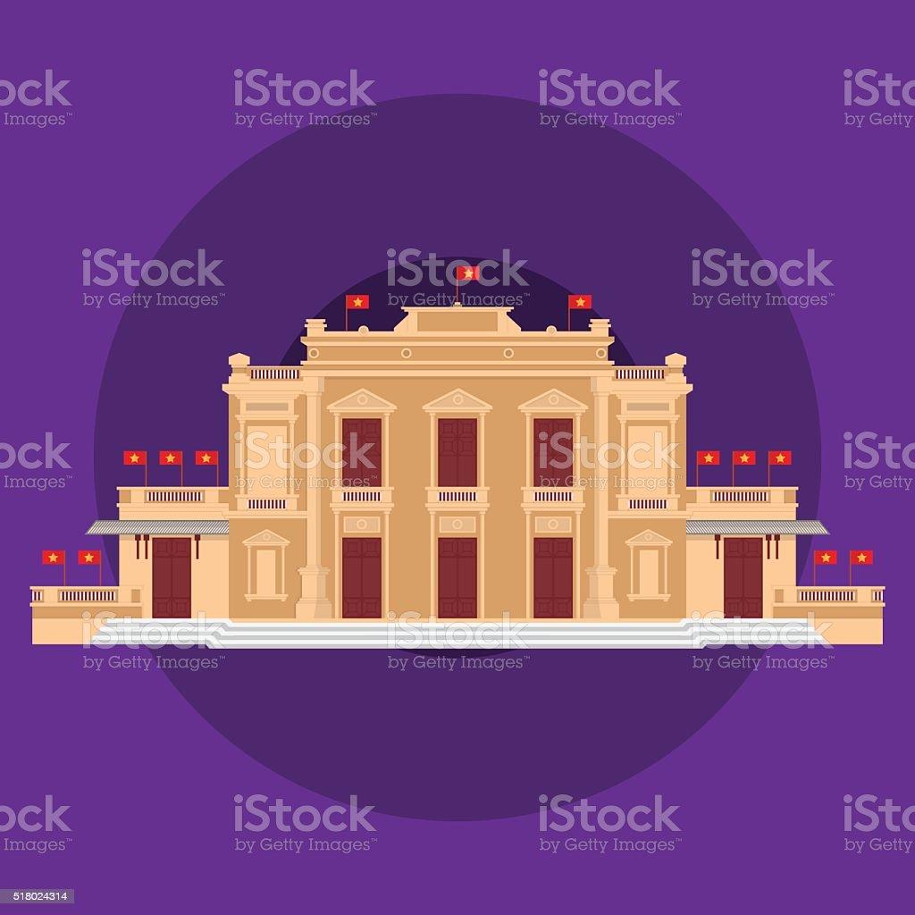 Haiphong Vietnam Opera House Minimalist vector art illustration